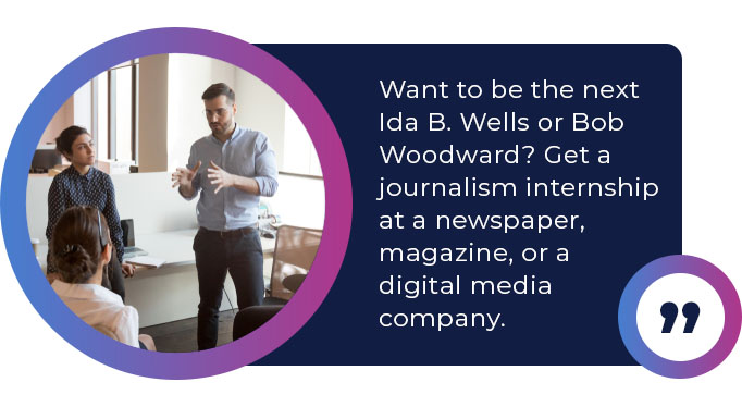 a journalism internship at a newspaper
