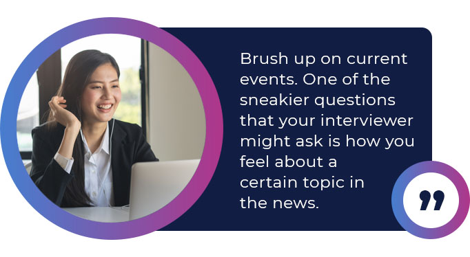 brush up current events interview quote