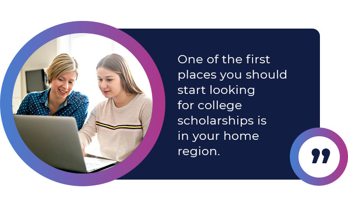college scholarships in your home region