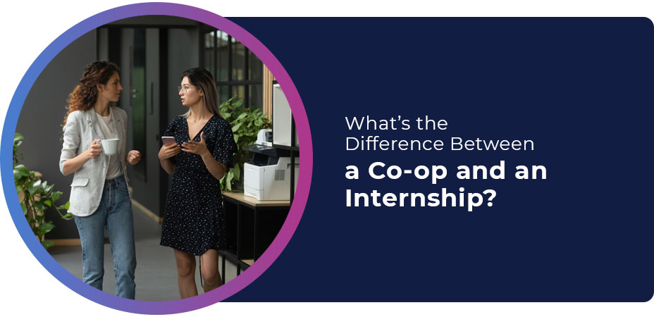 difference between co op internship