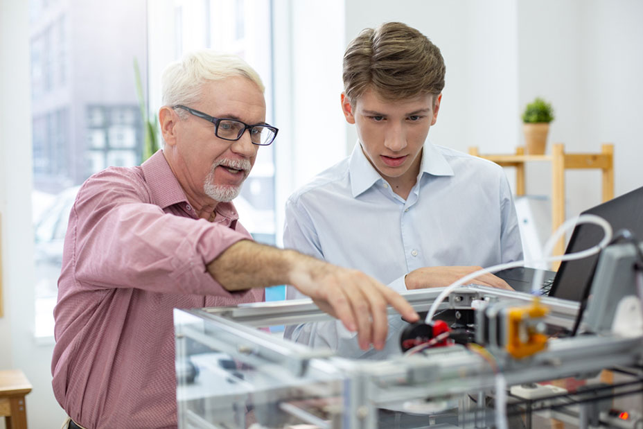 engineer with intern student
