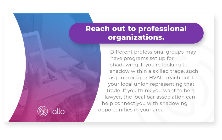 reach out to professional organizations graphic
