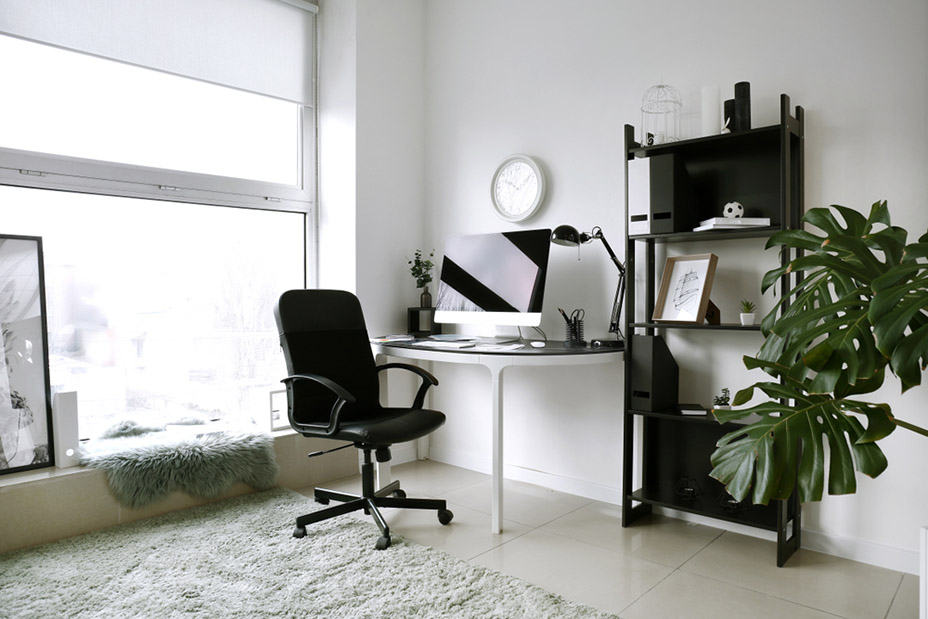 Interior of room with comfortable designer workplace